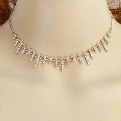 Rhinestone Alloy Collarbone Chain Necklace
