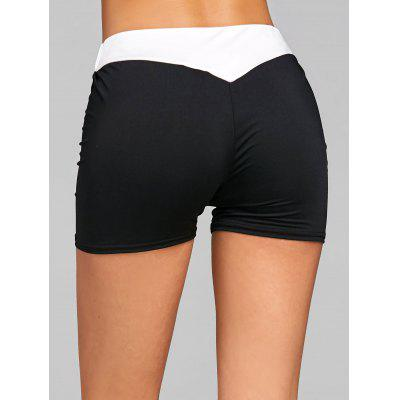 Two Tone Elastic Waist Sports Shorts