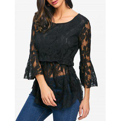 Bell Sleeve Floral Lace Blouse