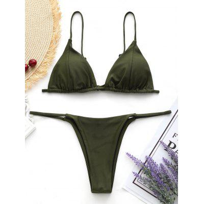 Back Tied Cami Thong Bikini Set