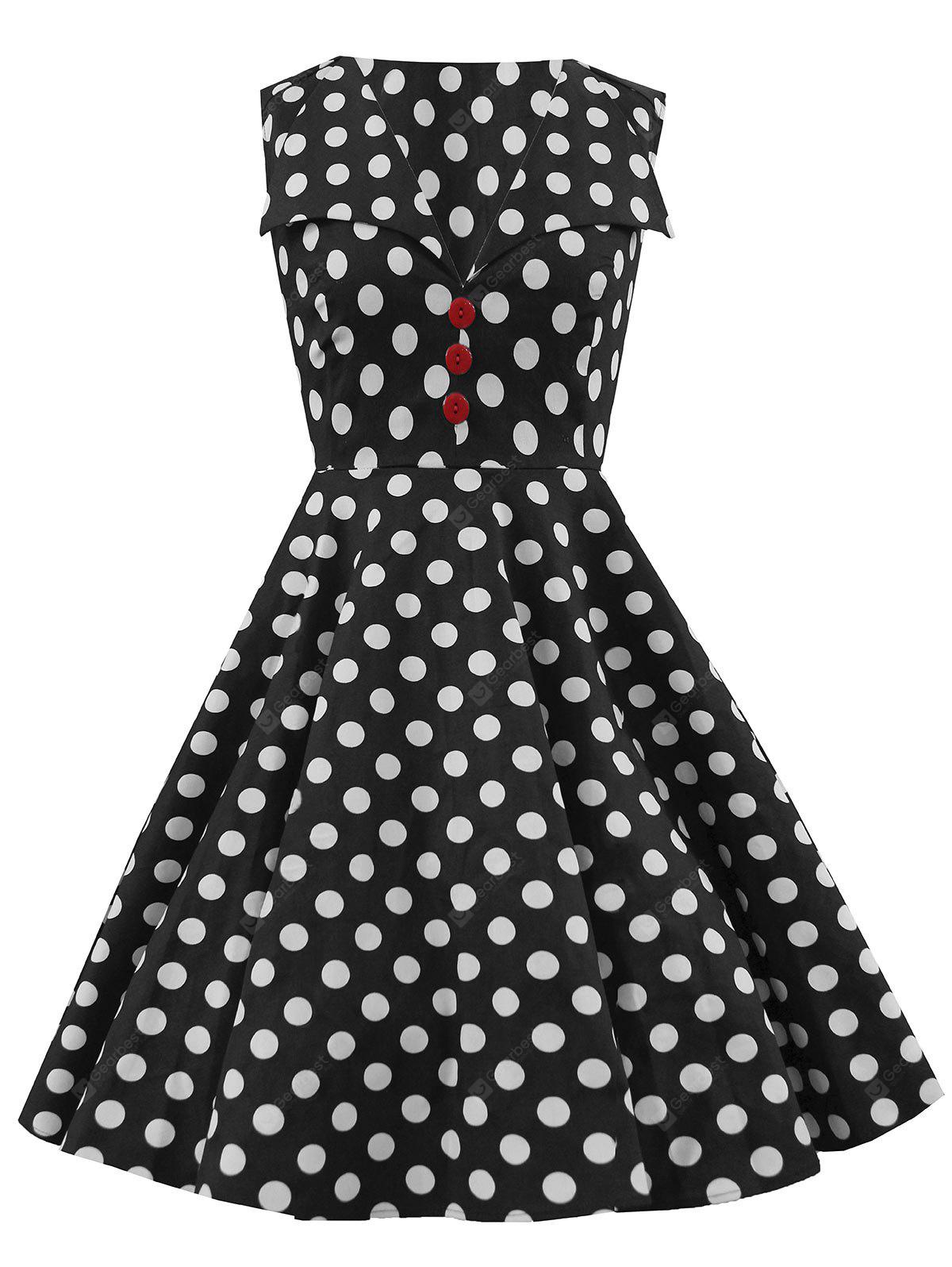 Polka Dot Button Embellished Party Dress
