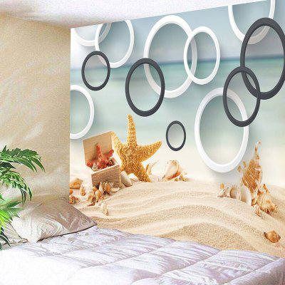 Strand Seestern Conch Circles Wandkunst Tapisserie