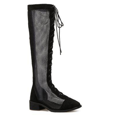 Round Toe Fishnet Knee High Boots