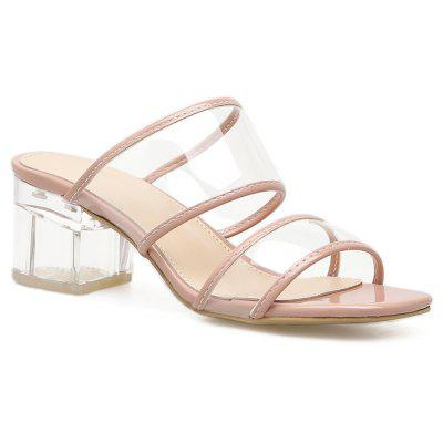 Slip-on Tansparent Heel Strappy Sandalet