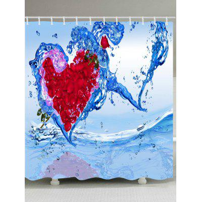 Petal Water Heart Print Waterproof Fabric Shower Curtain