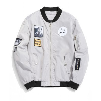 Patch Zip Up Bomber Jacket