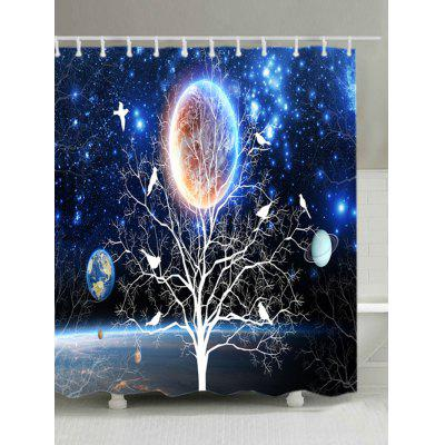 Solar System On The Tree Print Waterproof Shower Curtain
