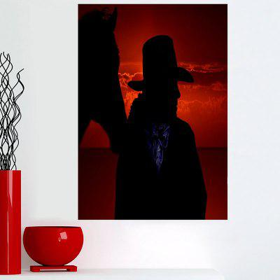 Stickable Cowboy Shadow Sunset Printed Canvas Art Schilderij