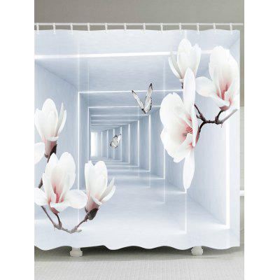 Wintersweet Butterfly Corridor Printed Waterproof Fabric Shower Curtain