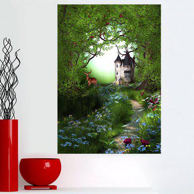 Frameless Forest Deer Path Print Wall Art Painting