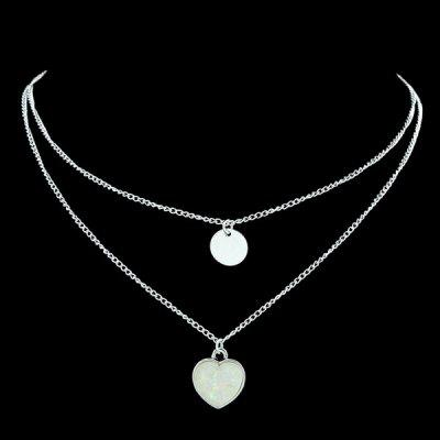 Alloy Circle Heart Pendant Collarbone Necklace Set