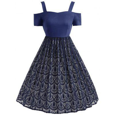 Vintage Peacock Feather Lace Overlay Dress