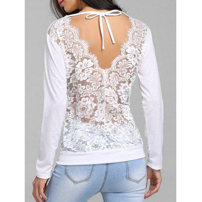 Sheer Lace Panel Cut Out T-shirt