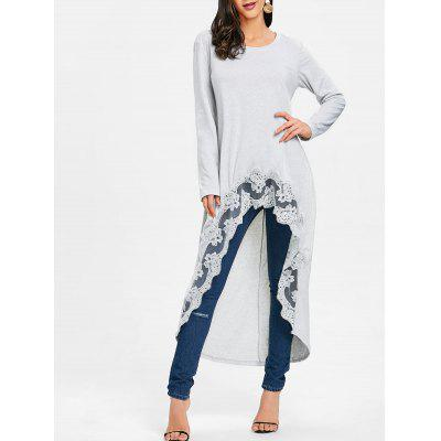 High Low Long Sleeve Lace Trimmed Top