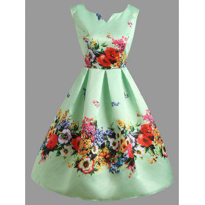 Star Lace Insert Flower Print Vintage Party Dress