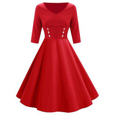 Vintage Button Fit and Flare Dress
