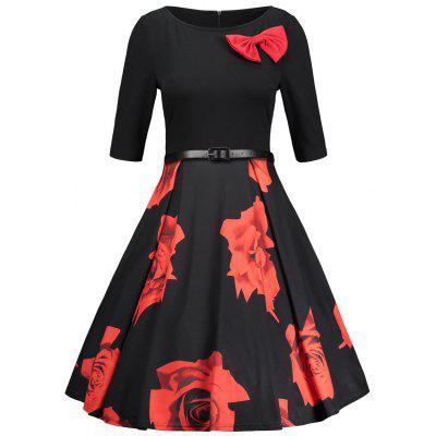 Retro Bowknot Floral Fit and Flare Dress