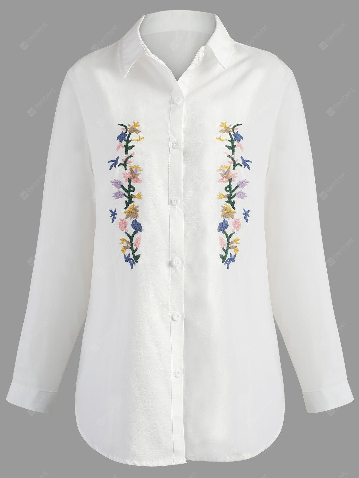 Plus Size Floral Embroidered High Low Shirt