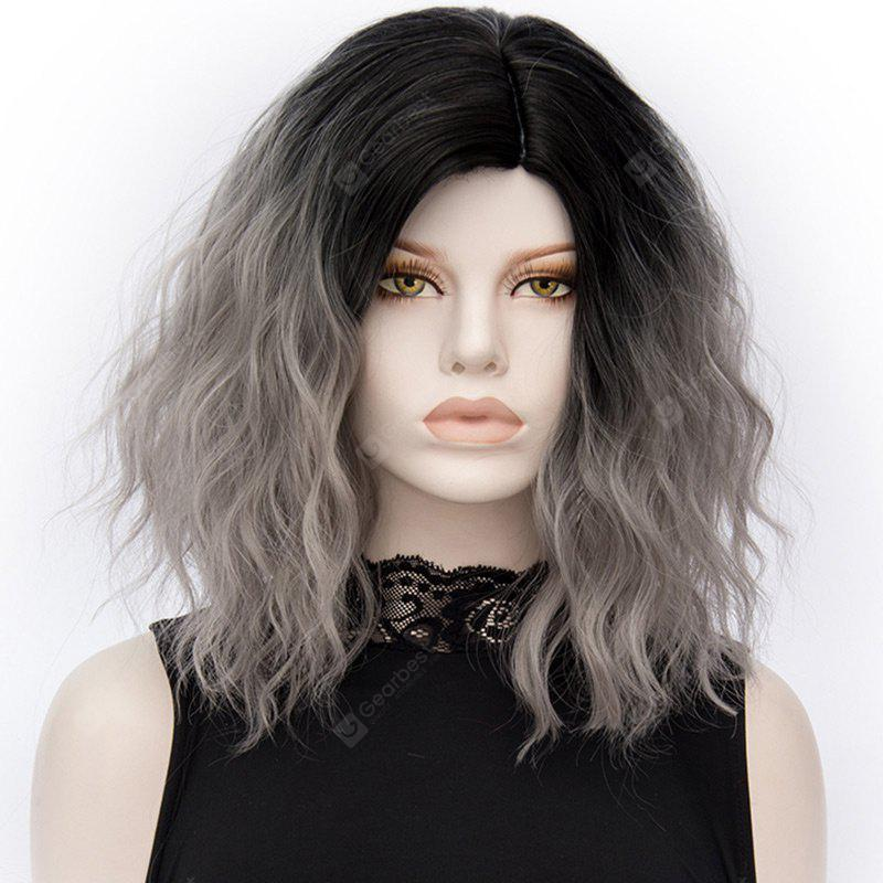 Medium Ombre Side Parting Natural Wavy Synthetic Fiber Wig