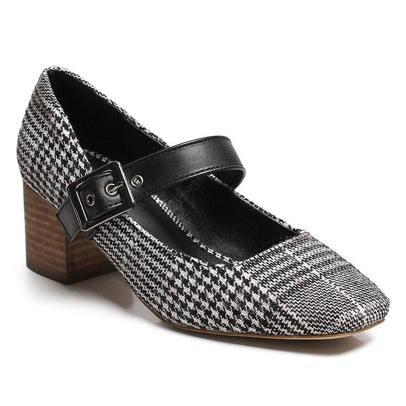 Plaid Buckled Chunky Heel Pumps buy cheap find great 3SioJdXtN4