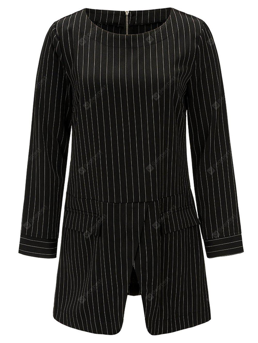 Striped Front Slit Tunic Blouse