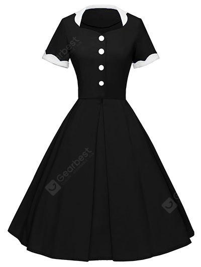 Vintage Button Color Block Pin Up Dress