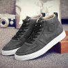 Fashionable PU Leather and Tie Up Design Casual Shoes For Men - BLACK