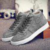Fashionable PU Leather and Tie Up Design Casual Shoes For Men - GRAY