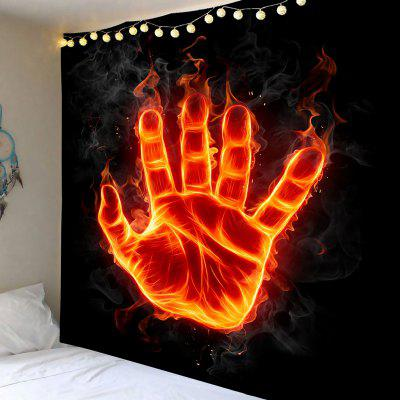 Fire Hand with Power Printed Wall Art Tapestry