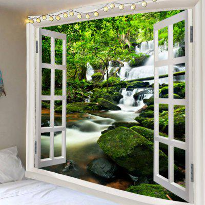 Window Outside Forest Waterfall Printed Tapestry