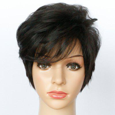 Short Side Bang Shaggy Textured Slightly Curled Synthetic Wig