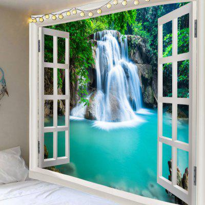 Window Outside Forest Waterfall Printed Wall Tapestry
