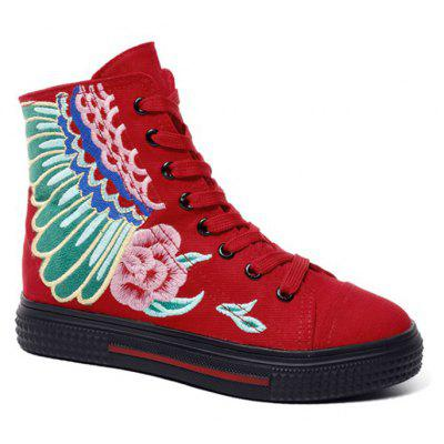 Lace Up Embroidery Ankle Boots