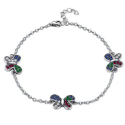 Butterfly Colorful Rhinestone Sterling Silver Chain Bracelet