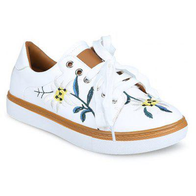 Flower Embroidery Low Top Sneakers
