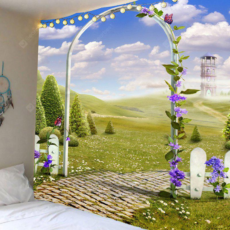 Arch Garden Meadow View Printed Tapestry