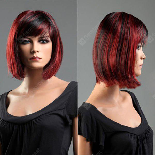 Short Side Bang Colormix Straight Bob peluca sintética resistente al calor
