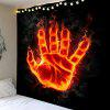 Fire Hand with Power Printed Wall Art Tapestry - COLORFUL