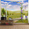 Arch Garden Meadow View Printed Tapestry - GREEN