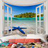 Window Outside Starfish Sea Island View Printed Tapestry - COLORFUL