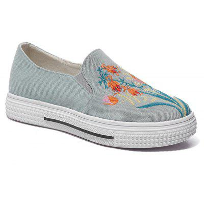 Floral Embroidered Slip On Sneakers