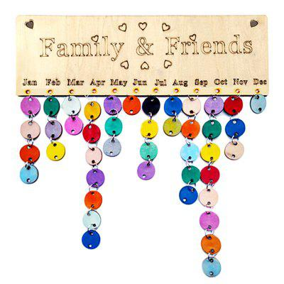 DIY Colorful Wooden Family And Friends Birthday Calendar Board