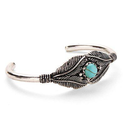Vintage Faux Turquoise Inlay Alloy Cuff Bracelet