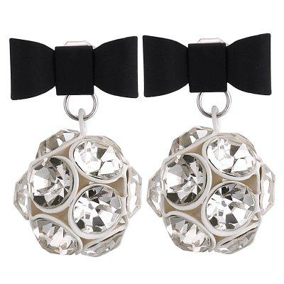 Vintage Rhinestone Ball Bowknot Earrings