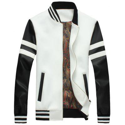Color Block Stripe Zip Up Jacket