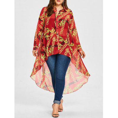 Plus Size Chiffon Print Long High Low Top