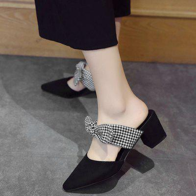 Mid Heel Bowknot Pointed Toe SandalsWomens Sandals<br>Mid Heel Bowknot Pointed Toe Sandals<br><br>Closure Type: Slip-On<br>Embellishment: Bow<br>Gender: For Women<br>Heel Height: 5CM<br>Heel Height Range: Med(1.75-2.75)<br>Heel Type: Chunky Heel<br>Occasion: Casual<br>Package Contents: 1 x Sandals (pair)<br>Pattern Type: Bowknot<br>Sandals Style: Slides<br>Shoe Width: Medium(B/M)<br>Style: Leisure<br>Upper Material: Suede<br>Weight: 1.2000kg