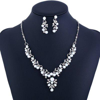 Faux Pearl Rhinestone Leaf Jewelry Set