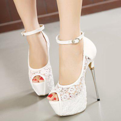 Lace Platform Heel SandalsWomens Sandals<br>Lace Platform Heel Sandals<br><br>Closure Type: Buckle Strap<br>Embellishment: Lace<br>Gender: For Women<br>Heel Height: 16.5CM<br>Heel Height Range: Super High(Above4)<br>Heel Type: Platform<br>Occasion: Party<br>Package Contents: 1 x Sandals (pair)<br>Pattern Type: Floral<br>Platform Height: 6CM<br>Sandals Style: Ankle Strap<br>Shoe Width: Medium(B/M)<br>Style: Fashion<br>Upper Material: Lace,PU<br>Weight: 1.5000kg