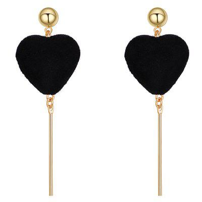 Vintage Fuzzy Heart Bar Drop Earrings